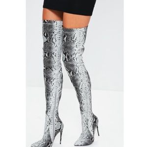 New Missguided snakeskin over the knee boots